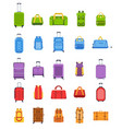 flat suitcases luggage and handle bags backpacks vector image