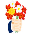 flower in hand vector image vector image