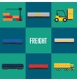 Freight transportation icon set vector image vector image