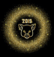 glitter frame 2019 and pig sign vector image vector image