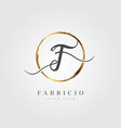 gold elegant initial letter type f vector image vector image