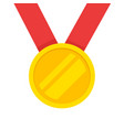 gold medal with red ribbon icon flat vector image vector image