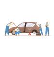 group male mechanics working at car repair vector image vector image