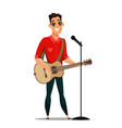 guitarist playing musical instrument and singing vector image vector image