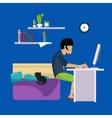 Guy In Bedroom Working Freelance vector image vector image