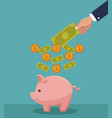 hand saving money vector image vector image