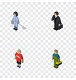 isometric people set of guy housemaid investor vector image vector image