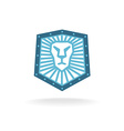 Lion head shield logo vector image vector image