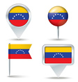 Map pins with flag of Venezuela vector image vector image