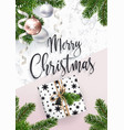 merry christmas greeting card marble and fir tree vector image