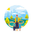mother and kids in the park city vector image