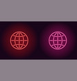 neon icon of red and pink globe vector image