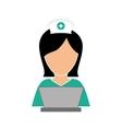 nurse in computer icon image vector image