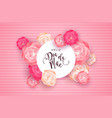 portuguese mothers day card with pink rose flowers vector image vector image