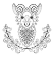 Ram with floral frame wreathe zentangle vector image
