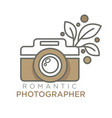 romantic photographer retro photo camera isolated vector image vector image