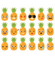 set of cute pineapple emojis vector image vector image