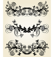 set of vintage black floral borders vector image vector image