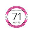 seventy one years anniversary celebration logo vector image vector image