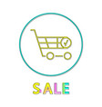 shopping trolley sale notification linear icon vector image vector image