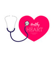 stethoscope and heart symbol of cardiology world vector image