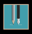 Stylized pencil and writing pen variation 1 vector image vector image