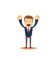 successful businessman with arms up vector image vector image