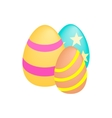 Three easter eggs isometric 3d icon vector image vector image