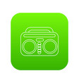 vintage boombox icon green vector image