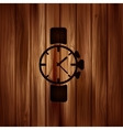 Watchclock iconWooden background vector image