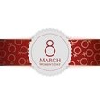 Womens Day white Emblem and red golden Ribbon vector image