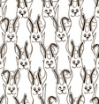 Seamless pattern of funny bunnies vector image