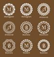 set of creative monograms template ornament line vector image