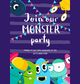 monster party invitation poster with crowd vector image