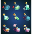 Set alchemical cartoon bottles vector image