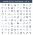 100 message icons vector image vector image