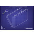 3d model suitcase on a blue vector image vector image