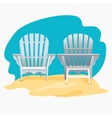 Adirondack chair standing on the yellow sand under vector image