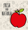 apple fresh and natural food fruits background vector image vector image