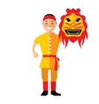 Asian man with Chinese dragon Flat style vector image vector image