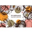 autumn harvest festival design with pumpkins vector image