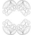 black and white heart flower plant border vector image