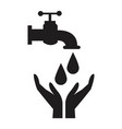 black silhouette house faucet with drop and hands vector image vector image