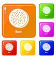 bun icons set color vector image vector image