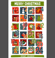 cartoon christmas advent calendar with funny icons vector image vector image