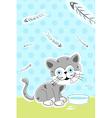 cat with fish bones vector image vector image