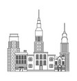 city buildings and skyscrapers of urban skyline vector image vector image