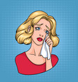 crying woman face sad blonde wiping tears vector image vector image