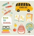 Cute school cartoon colection vector image