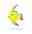 cute serious face cartoon yellow fish character vector image vector image